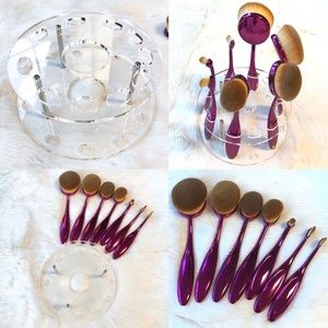 Clear 10 Oval Makeup Brush Stand Holder